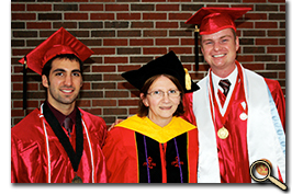 Heath Ingram, Assistant Dean Claudia Scott-Pavloff, and Andrew Ghattas at May 2011 Commencement