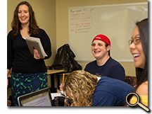 Dr. Amy Summerville and students in classroom photo